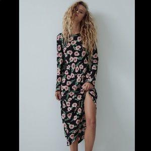 Zara NEW floral print long dress